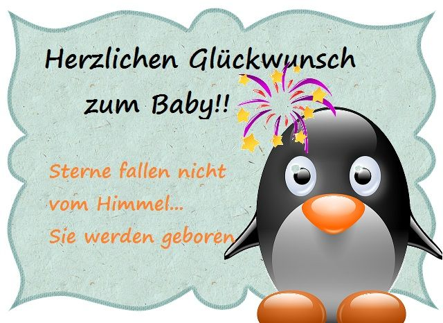 gl ckwunsch zum baby bild mit babypinguin celebration pinterest gl ckw nsche zum baby. Black Bedroom Furniture Sets. Home Design Ideas