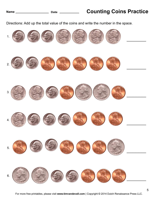 Math Worksheet Coins Value