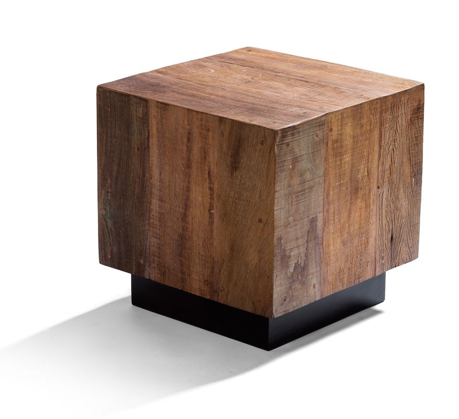 Leblon Cube End Table Made From Reclaimed Brazilian Peroba