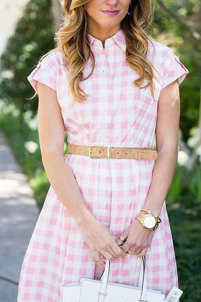 brightonkeller brightontheday blog pink gingham dress simple gold baubles pink dress bridal shower outfit church outfit ideas spring