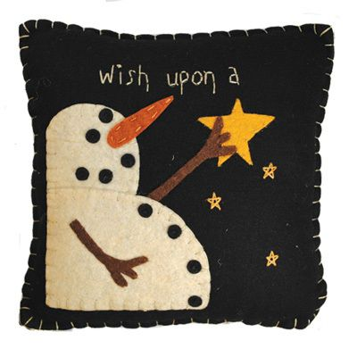 Wish Upon A Star Snowman Wool Pillow Quilt Stitchery Folk Art ♥ Primitive Decor |