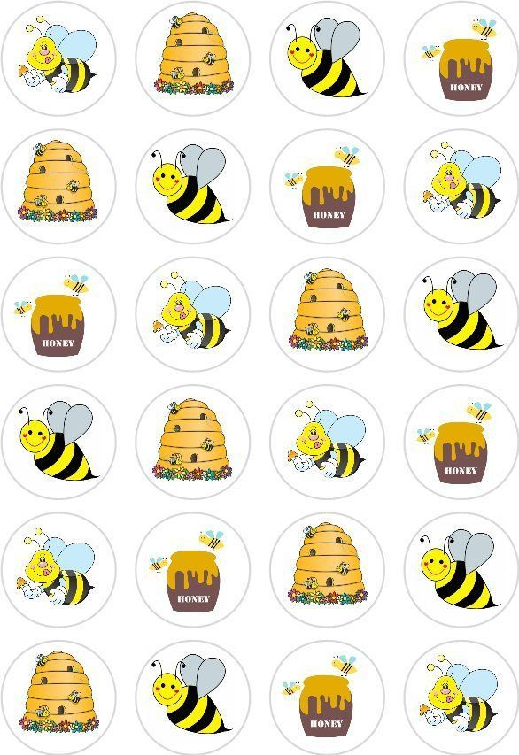 24 Honey Bee Bumble Cupcake Cake Toppers Edible Rice Wafer Paper Decorations