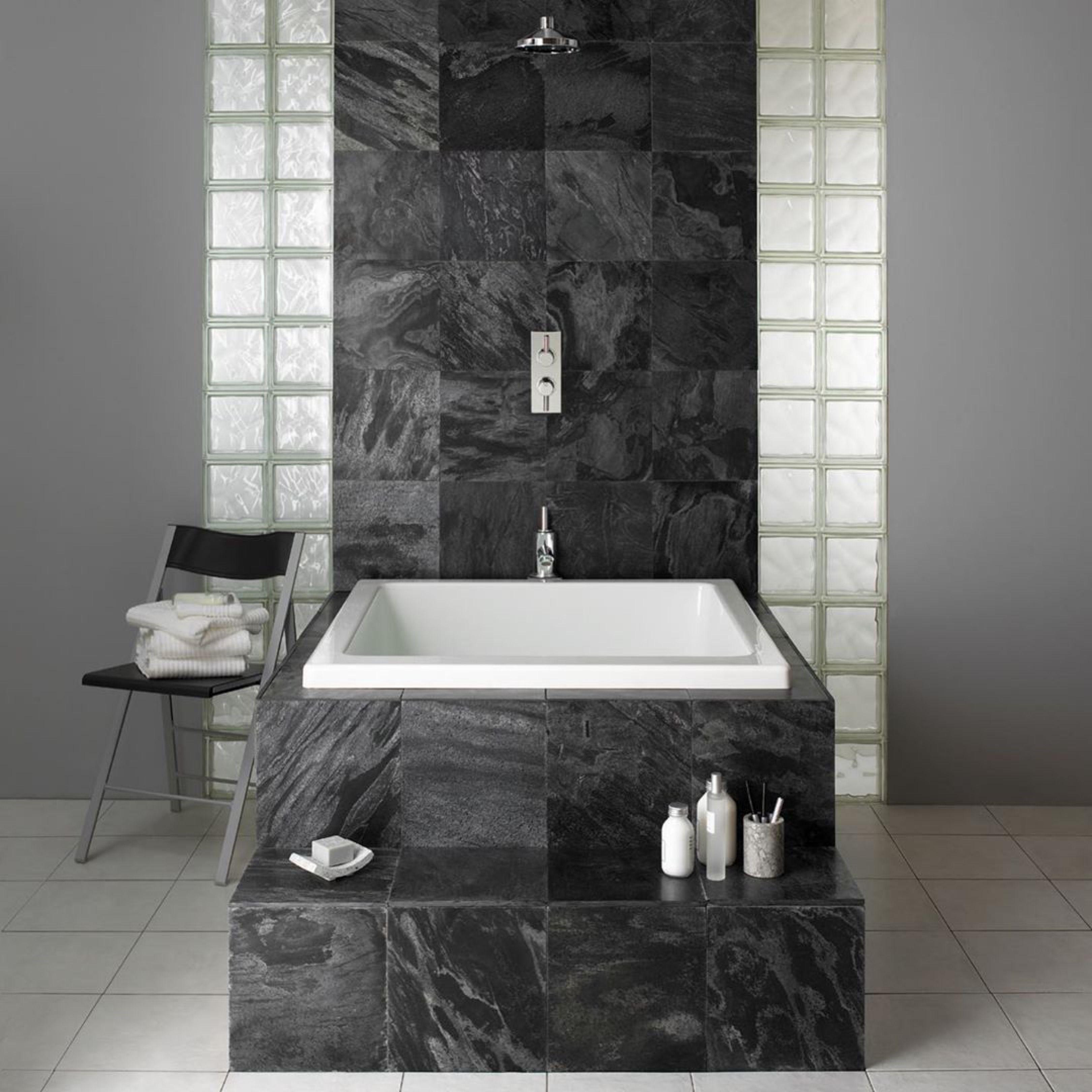 Omnitub Duo | Black Tiling in 2020 | Small bathroom ...