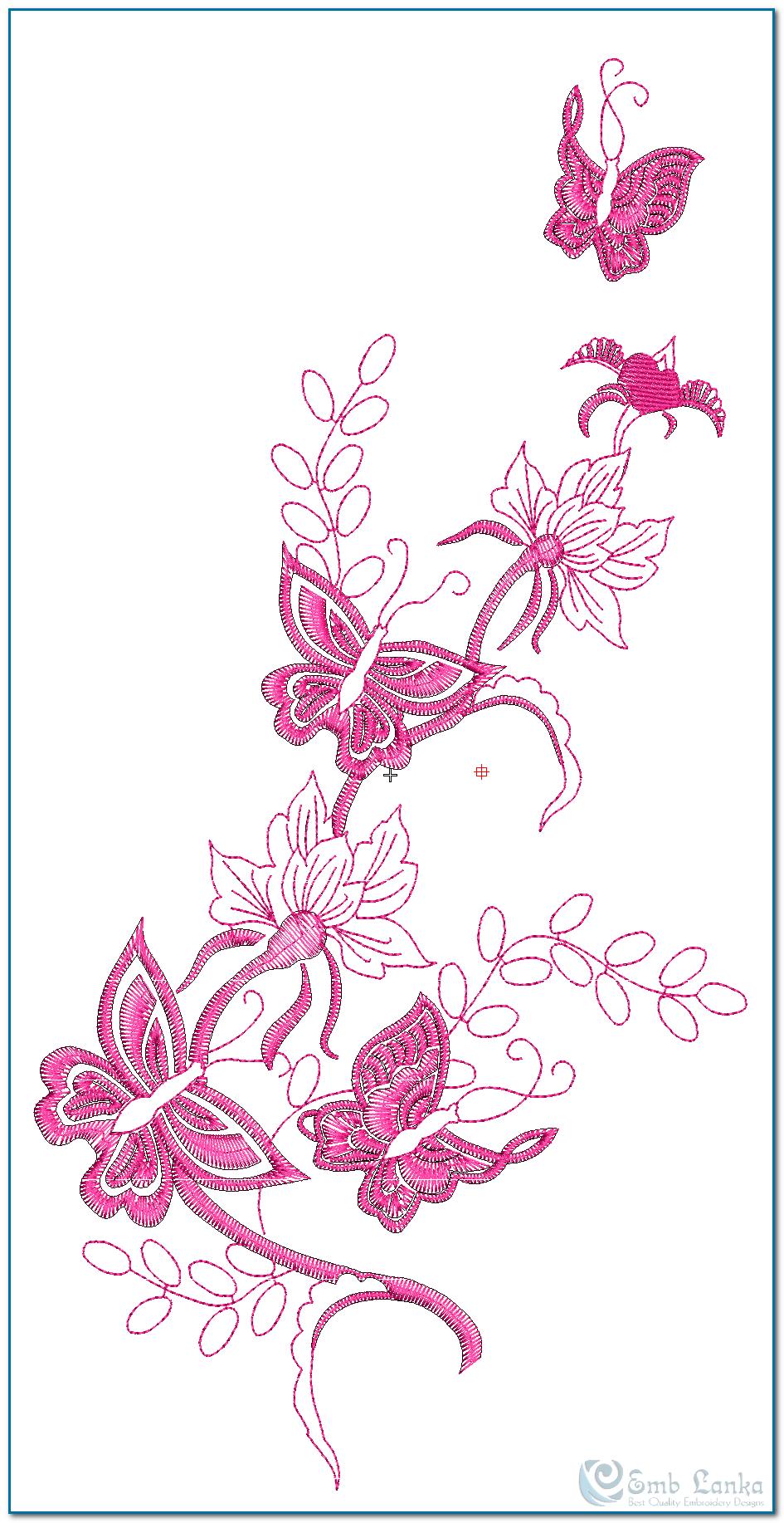Pink flowers u butterflies embroidery design emblanka free