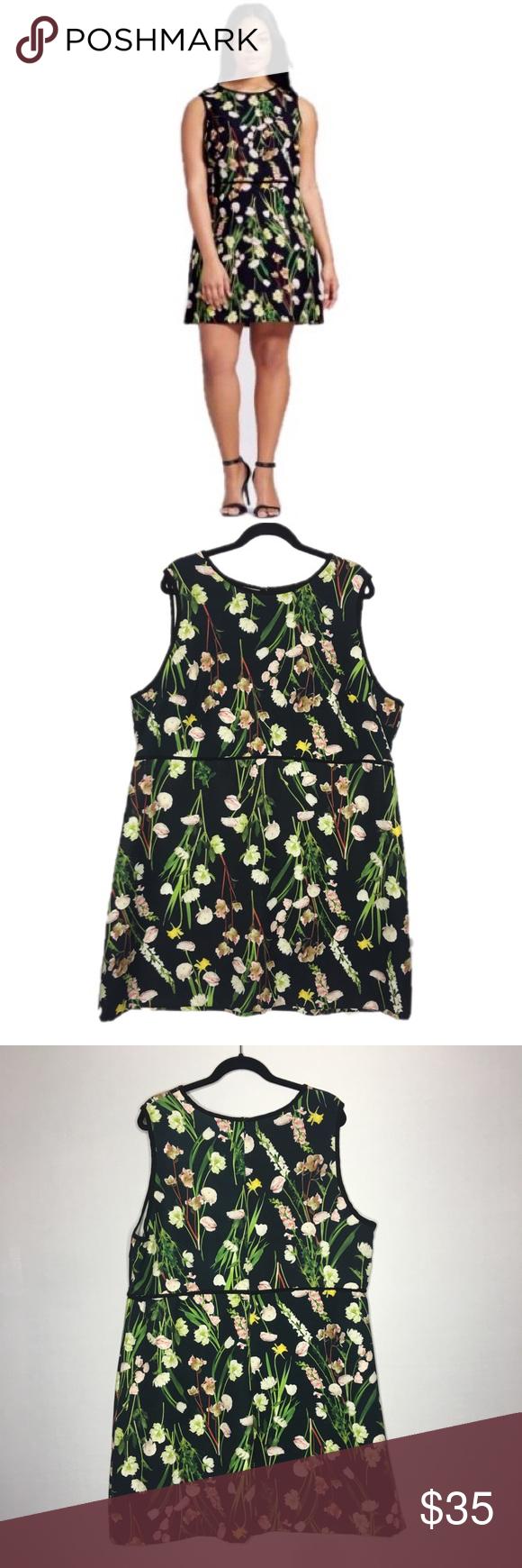 Plus Size 2x Victoria Beckham Black Floral Dress Floral Dress Black Dresses Victoria Dress [ 1740 x 580 Pixel ]