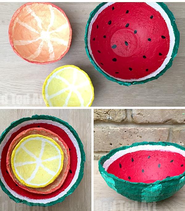 Papier Mache Summer Fruit Bowls Paper Mache Crafts Crafts