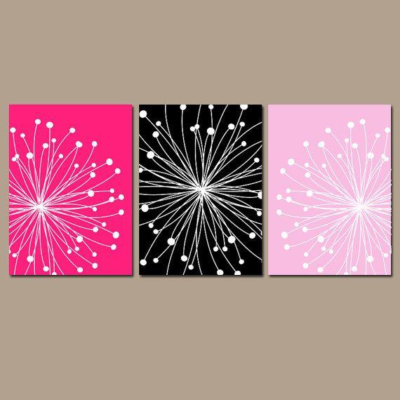 DANDELION Wall Art CANVAS Or Prints Hot Pink Black By TRMdesign