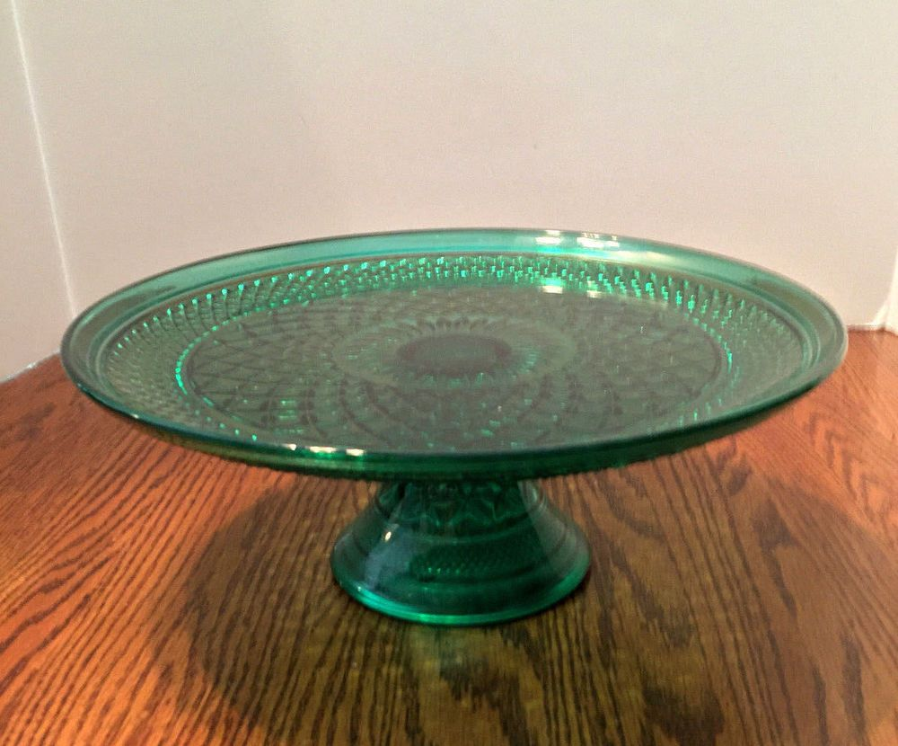 Anchor hocking green wexford cake stand plate