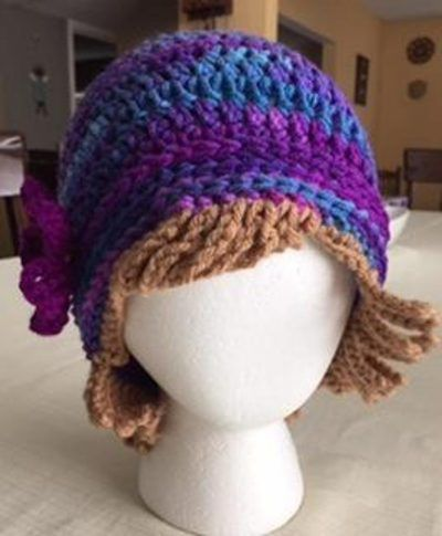 Crochet Chemo Hat With Hair Pattern Free Tutorial 000d1236e1b
