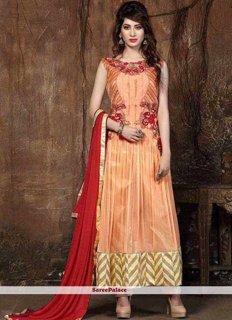 Designer salwar kameez mesmeric peach color net designer suit - Find This Pin And More On Designer Salwar Kameez Designer Peach Colour Net Embroidery Work Salwar Suit