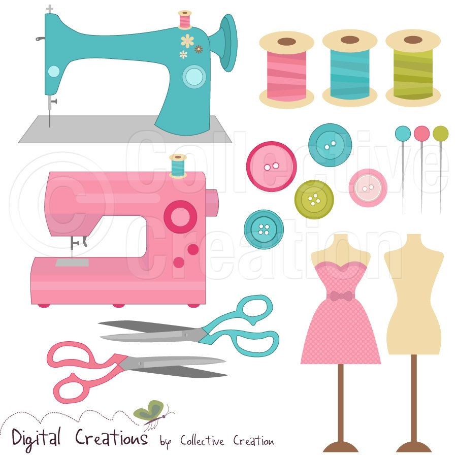 Sewing Digital Clip Art Clipart Set - Personal and Commercial Use ...