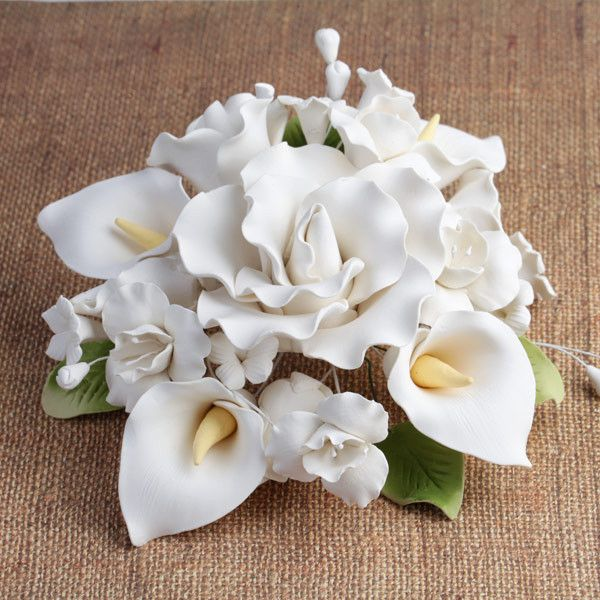 Gumpaste Flowers For Wedding Cakes: Large Tea Rose & Calla Lily Topper - White