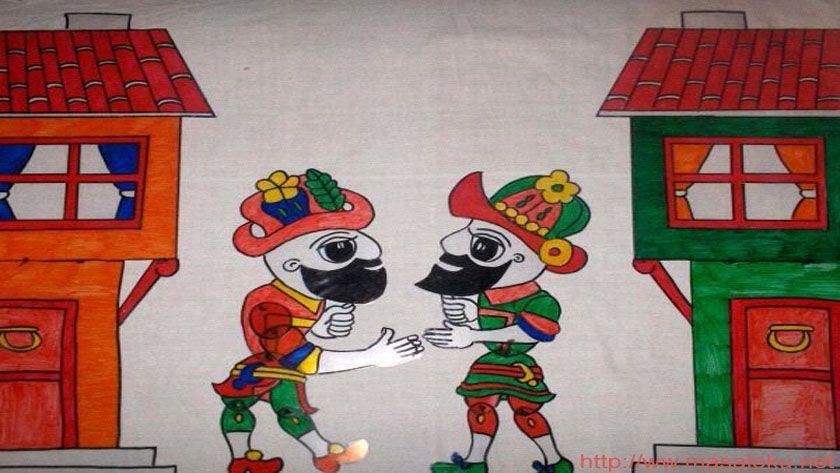 Karagoz Ve Hacivat Konusmalari Kan Karpuz Hacivat Karagoz Arkadasinin Dukkani Onune Gelir Ama Gorsel Sanatlar Sanat Masal