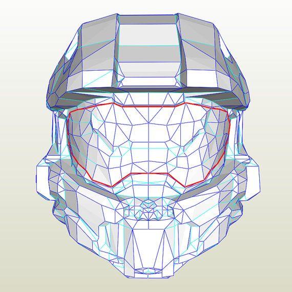 Cosplay Halo Chief Helmet Pepakura Pdo File Halo Cosplay Halo Armor Pepakura