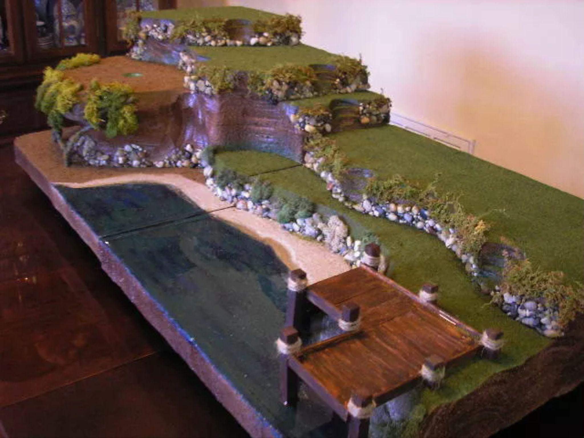 Water feature Christmas villages, Halloween village