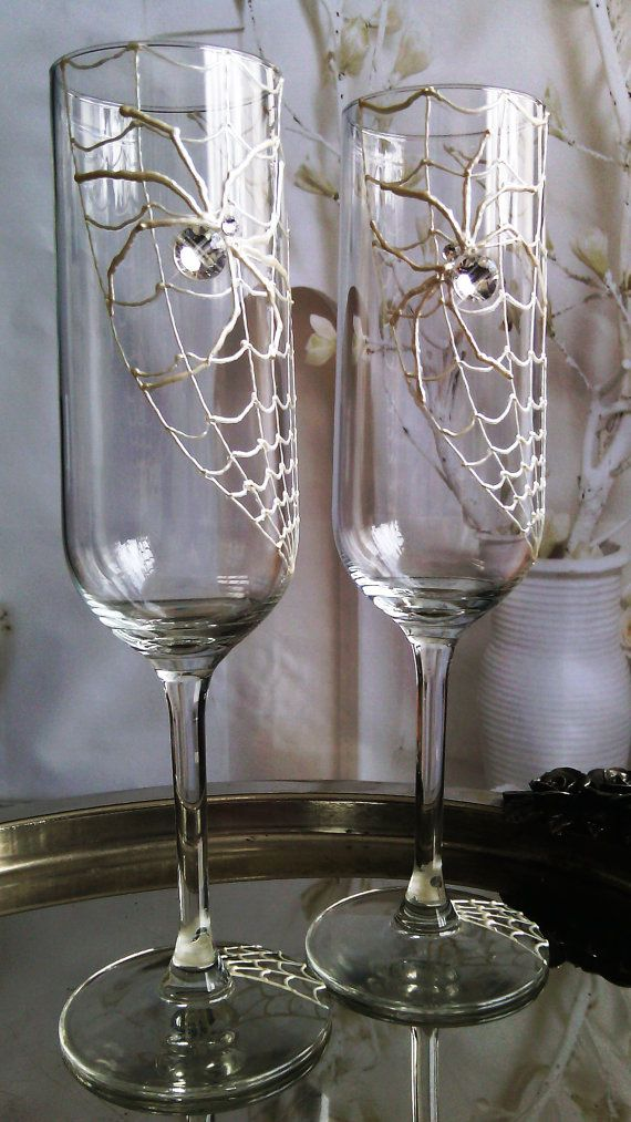 Set of 2 hand painted champagne flutes Swarovski crystal Spider couple wedding glasses by PaintedGlassBiliana