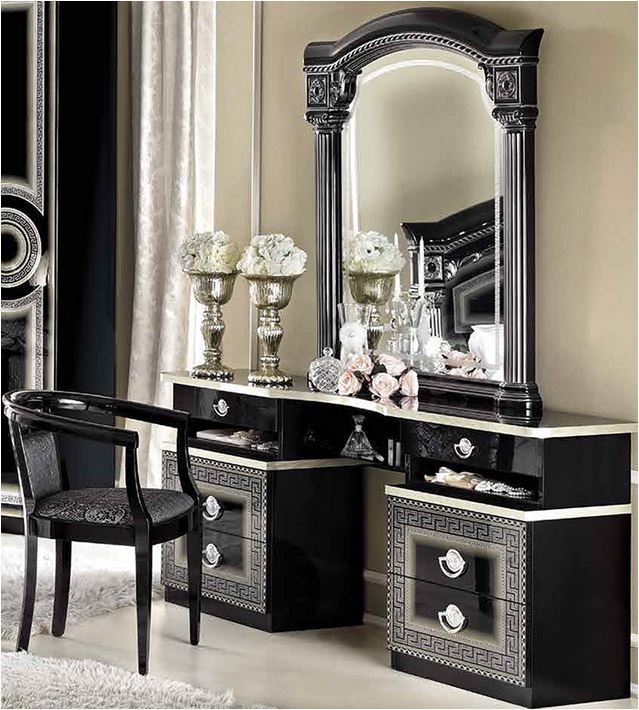 Versace black high gloss silver leaf dressing table for Silver vanity table