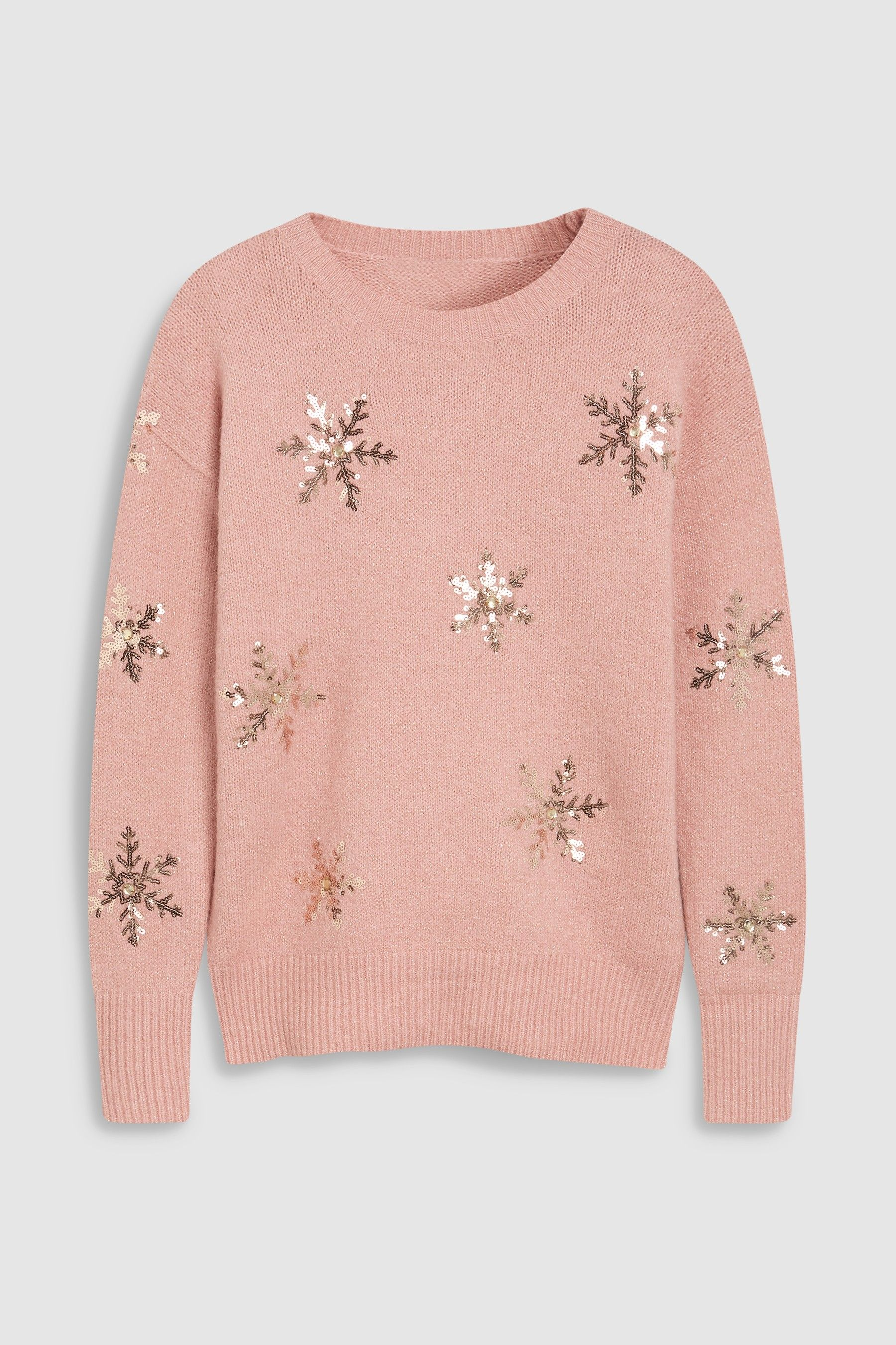 d9b05f9162a31 Womens Next Blush Sequin Snowflake Sweater - Pink | Products ...