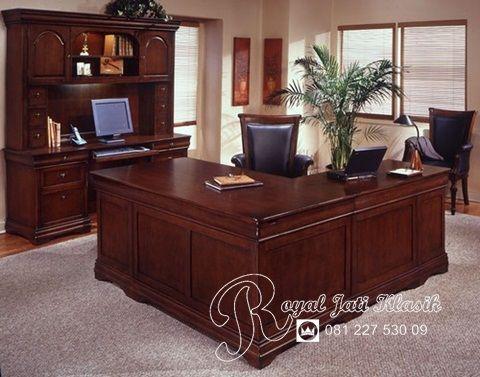 Set Meja Kantor Sudut Minimalis Jati Modern Royal Jati