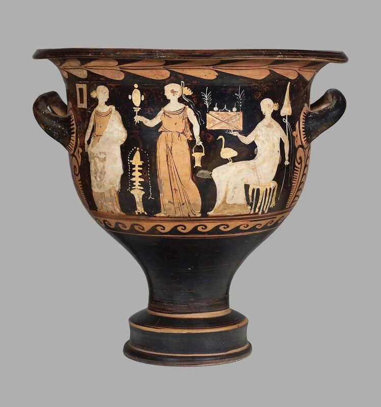 Ceramic Red Figure Mixing Bowl Bell Krater Side A Greek South