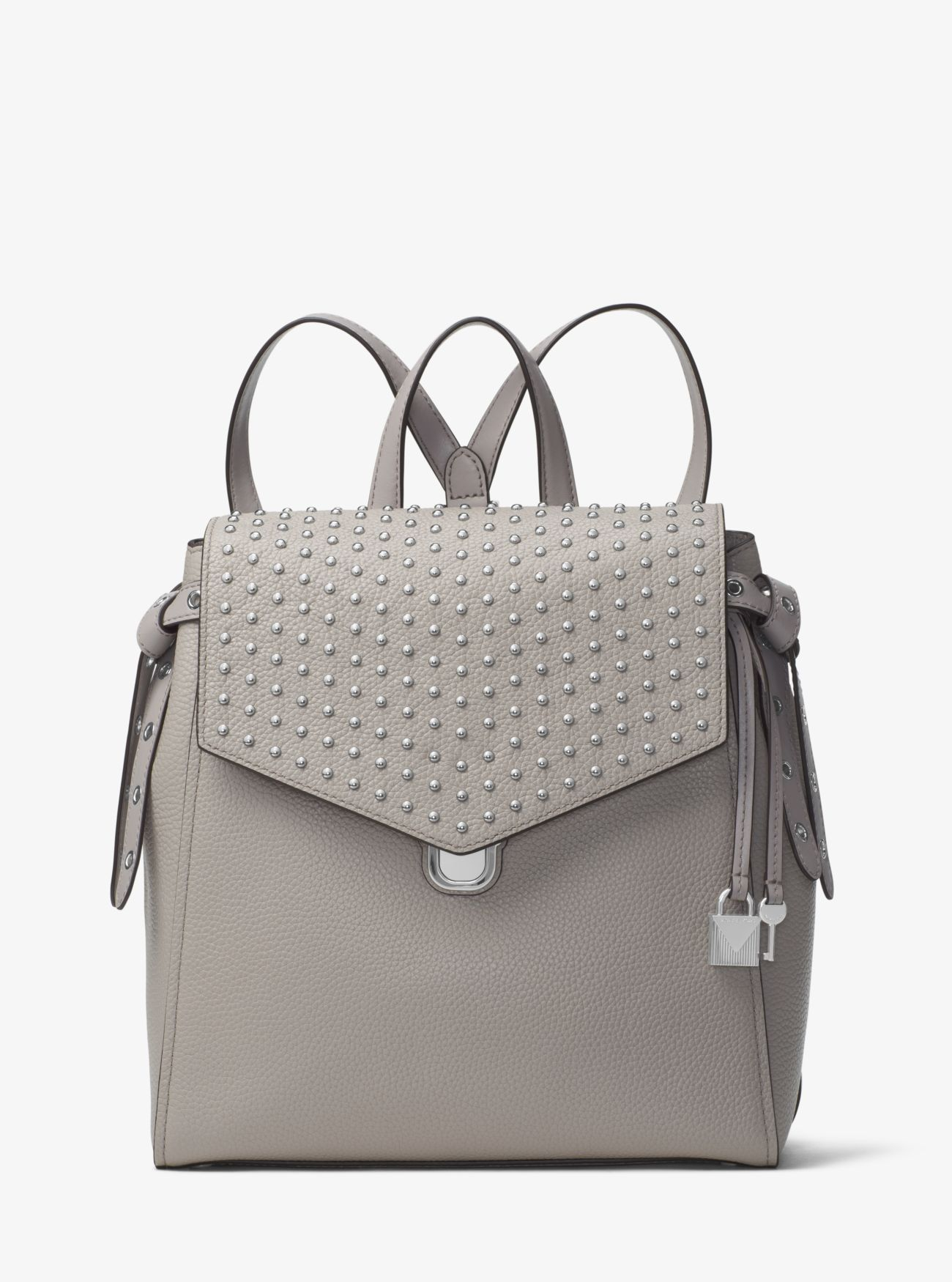 22f6cd19a9c7 Price Michael Kors Pearl Grey Bristol Medium Studded Leather Backpack Cheap