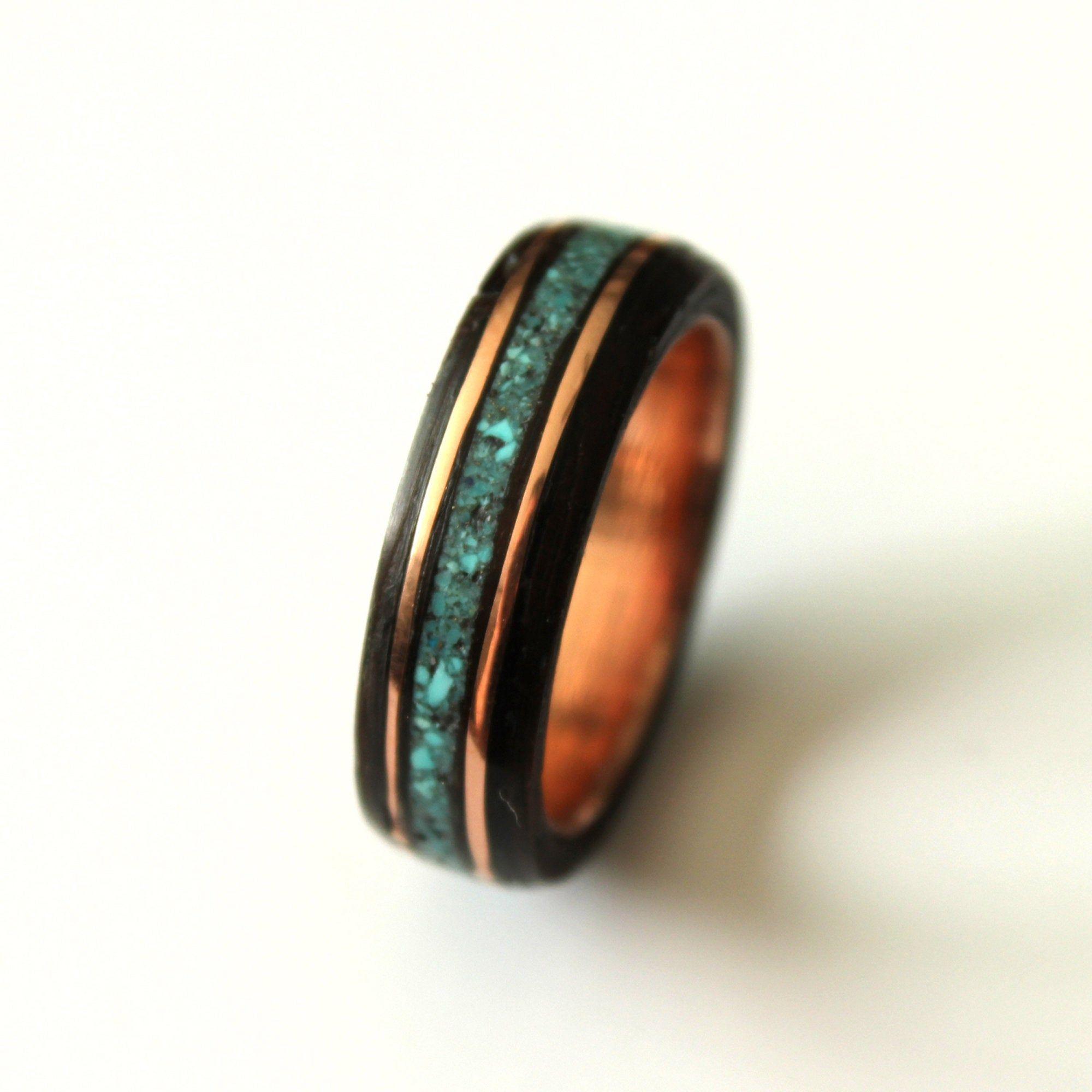 Ou Acheter Bois Ipe bague bois d'ipé et sel de turquoise sur anneau de cuivre en