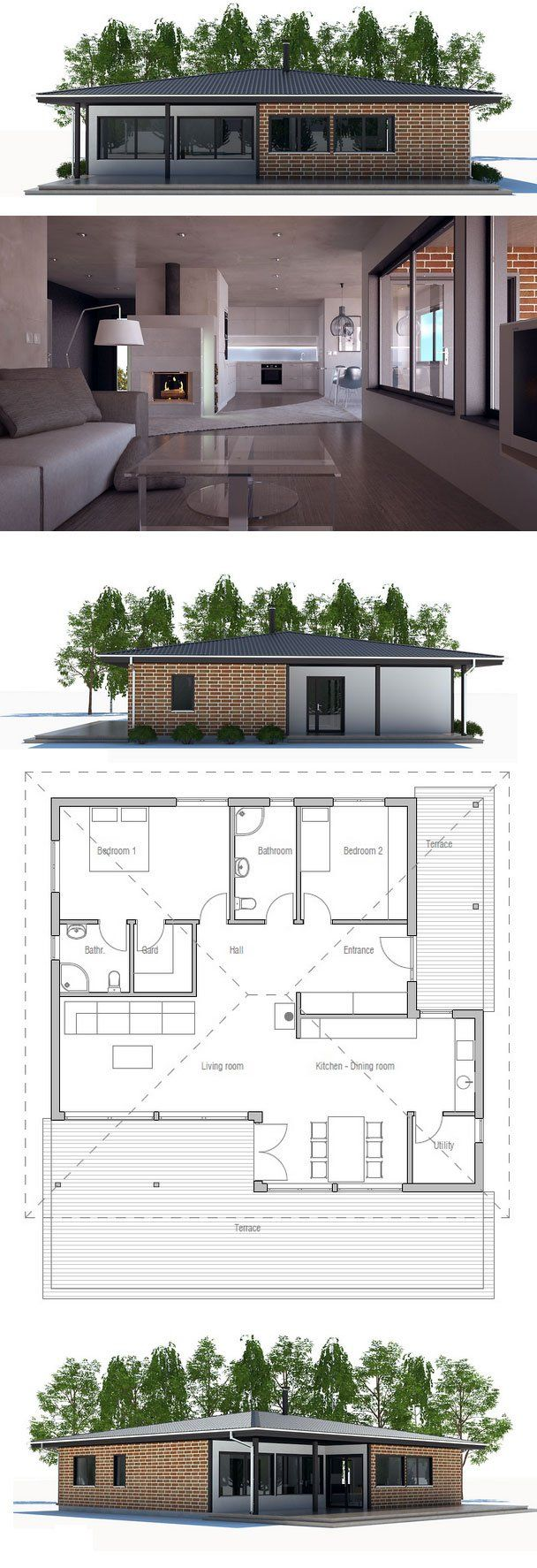 Small House Plan with two bedrooms. Open planning, big windows ...