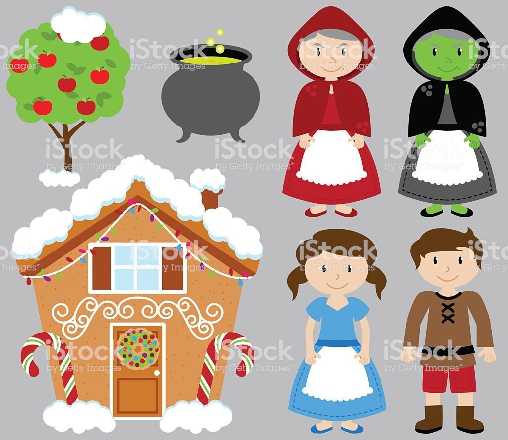 Hansel And Gretel Vector Collection With Witch And Gingerbread House Hansel And Gretel House Free Vector Art Halloween Fun