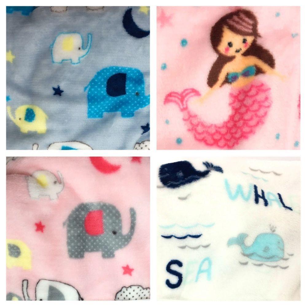New Hadley Baby Blanket Plush Boys Girl Elephant Mermaid Whale Animal Blue Pink