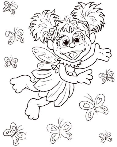 Abby Cadabby Flying With Butterflies Coloring Page From Sesame