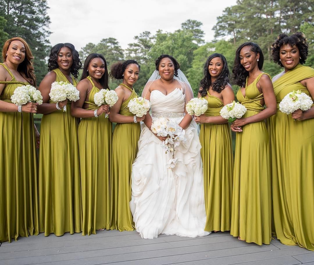 Such a gorgeous color for these bridesmaids what do you think chartreuse pear lemon olive new fabric for custom handmade infinity wrapping convertible bridesmaid floor length evening gown bespoke dress ombrellifo Images