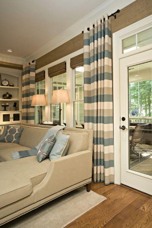 Vorhang Möglichkeiten deko gardinen und vorhänge streifen blau gardinen