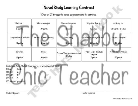 Novel Study Learning Contract 3rd-5th Grade Pinterest Novels - learning contract template
