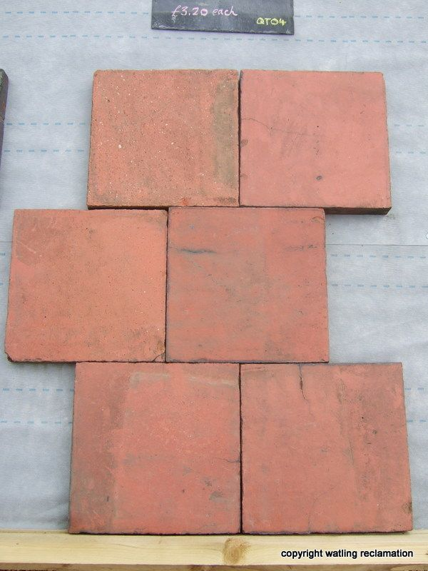 9″ x 9″ Smooth Red Quarry Tiles image 1