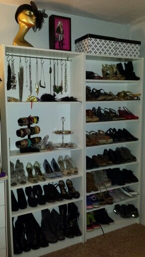 My Diy Shoe Closet. Ikea Billy Bookcase Hack. Curtain Rod, Shower Hooks,  Cupcake Stand And Such.