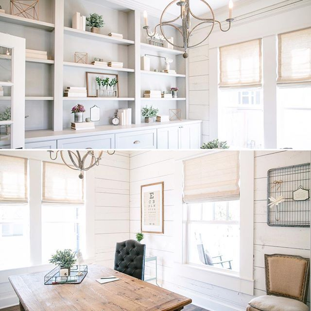 Home Office Design Tips To Stay Healthy: Light And Airy Office Space #shiplap #fixerupper @hgtv