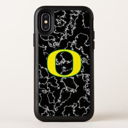 Oregon | Black Marble Pattern OtterBox Symmetry iPhone X Case - marble gifts style stylish nature unique personalize