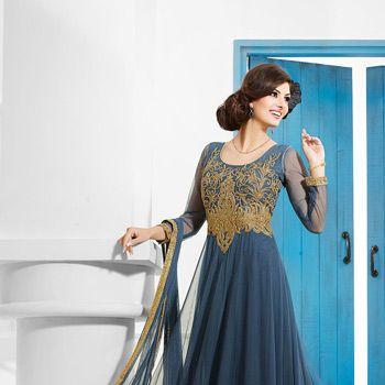 Grey Net Readymade Abaya Style Double Layered Churidar Kameez