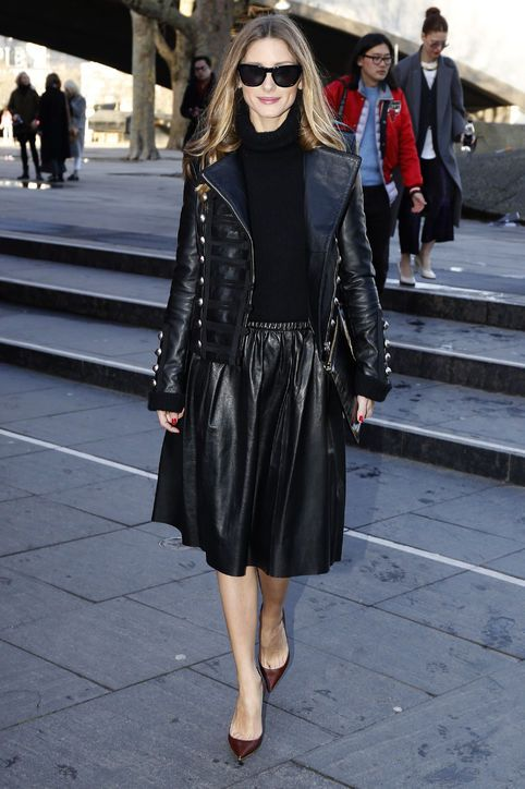 Olivia Palermo in black leather at London Fashion Week | Celebrity ...