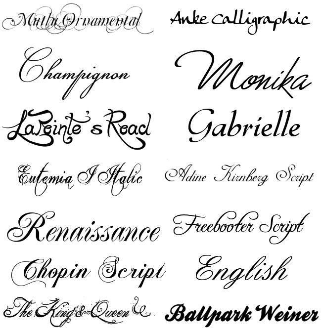 Шрифты онлайн для открыток, черно-белые