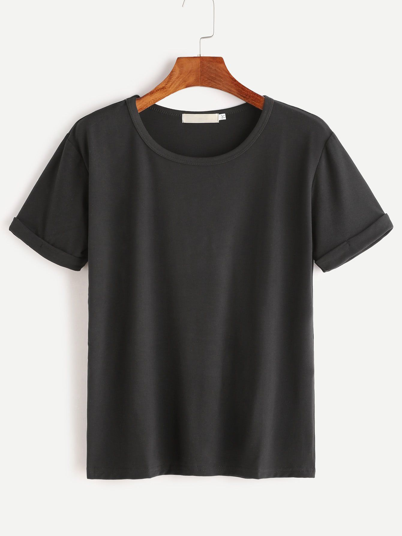 Black rolled sleeve basic tshirt how to roll sleeves