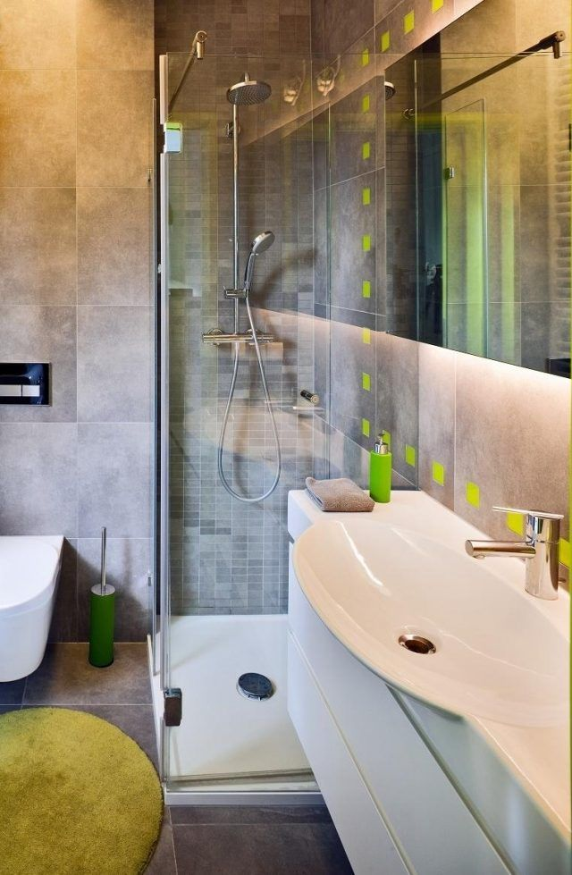 kleines bad einrichten glasdusche graue fliesen grüne akzente | Bad ...