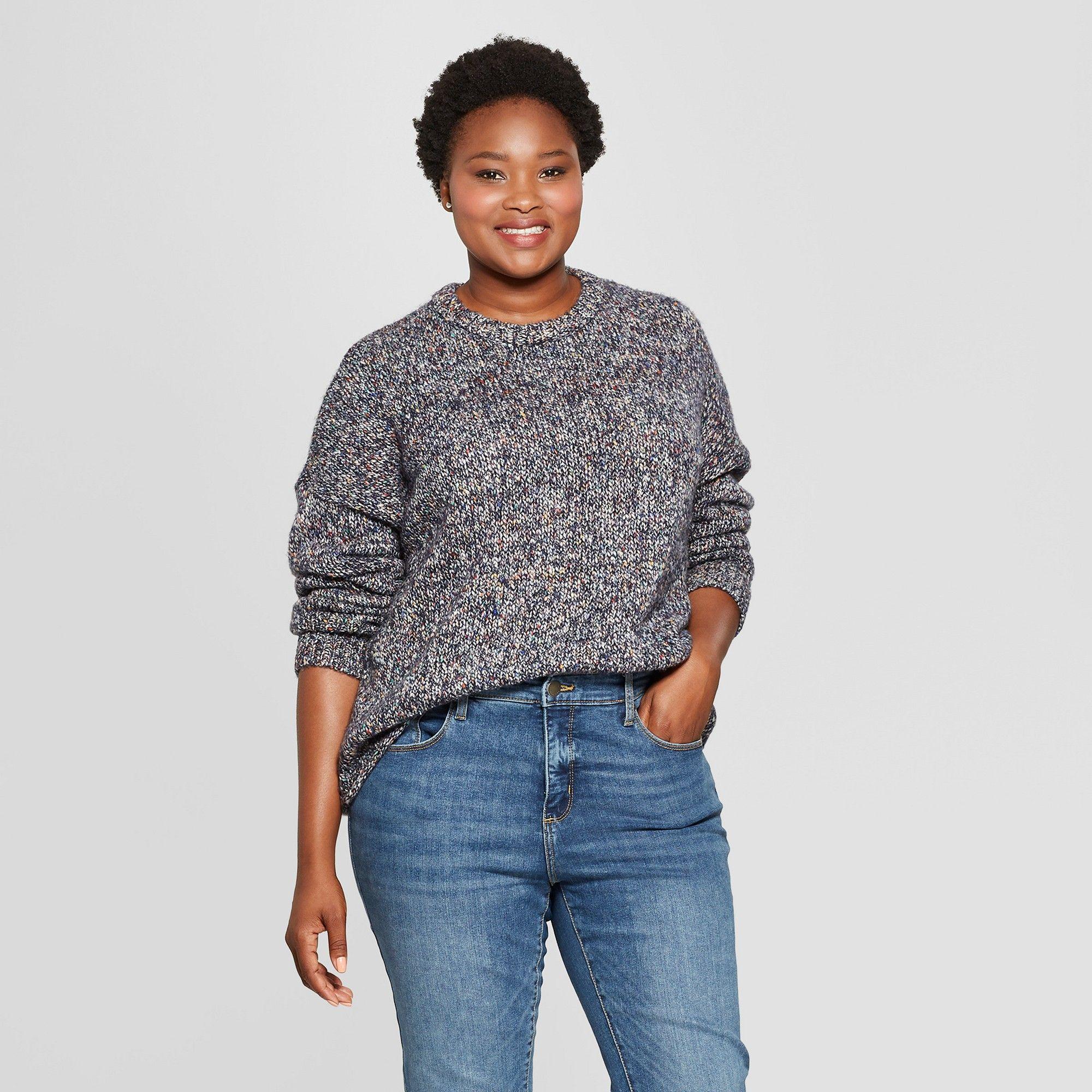 c58b9ff9 Women's Plus Size Marled Pullover - Universal Thread Blue 4X ...