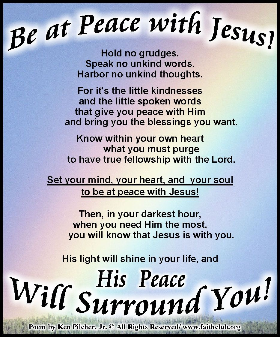 Be At Peace with Jesus! | Faithclub Messages (COLOR) | Good