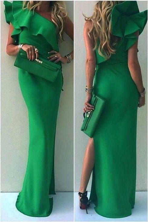 Grün Abendkleider Lang Ein schulter Satin Etuikleid ...