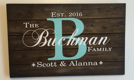 Personalized Wall Hangings gift for mom - custom family name sign monogram rustic wood sign
