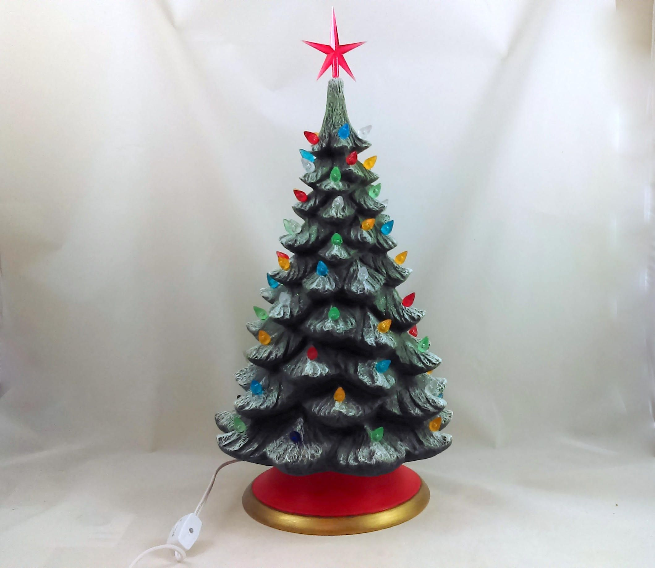 ready to ship large ceramic christmas tree 17 inches with base by aarceramics on