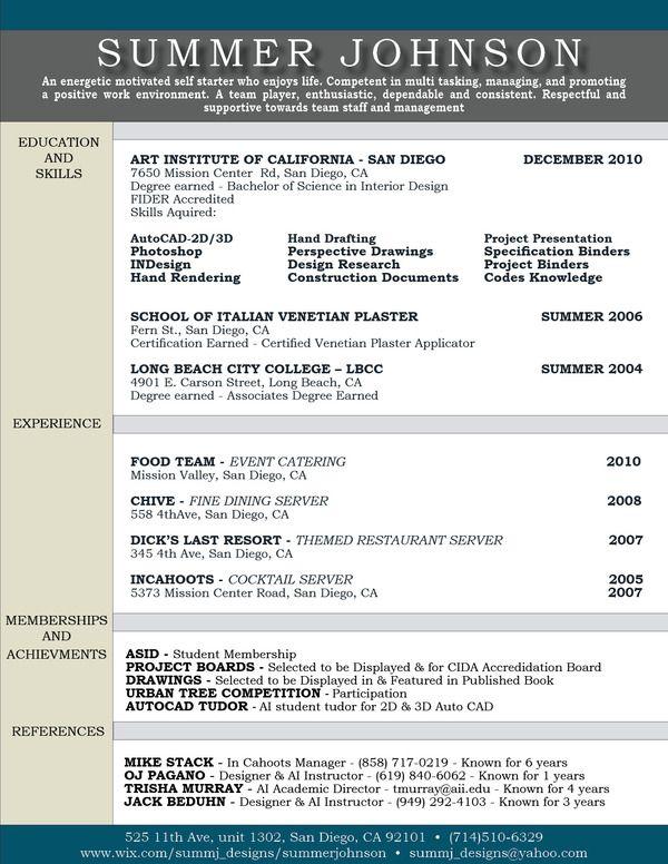 Academic Profile Resume Cover Letter Sample Sheet By Summer Johnson Via Behance Interior Design Resume Resume Design Resume Examples