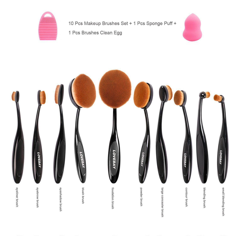 095208346379 Aibay 10 Pcs Soft Oval Toothbrush Design Makeup Brush Sets ...