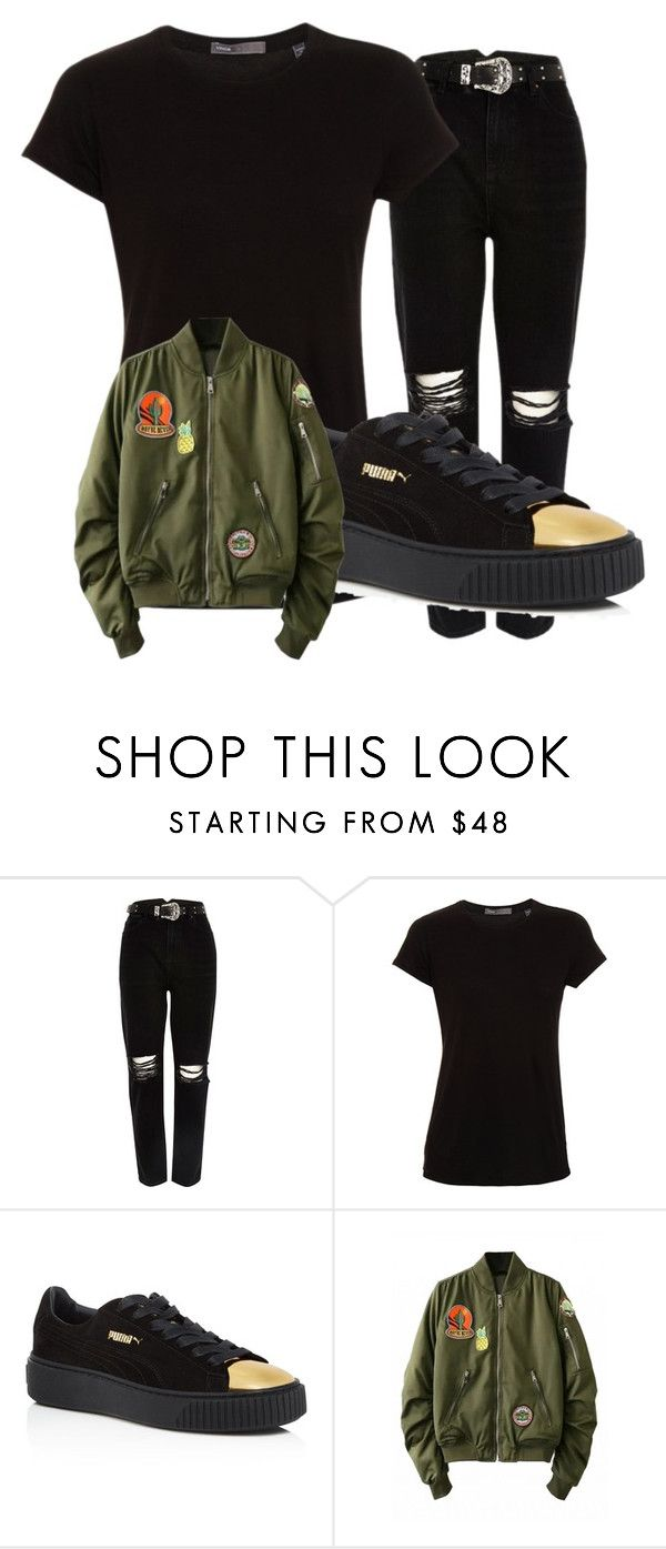 gold and black puma outfit